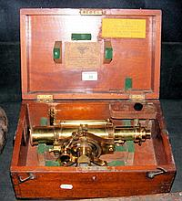 An antique brass Surveyor's instrument in original