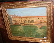 An oil of The Rialto Bridge, Venice
