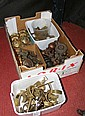 Assorted wood and brass curtain rail brackets,