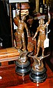 A pair of classical Spelter figures on plinths