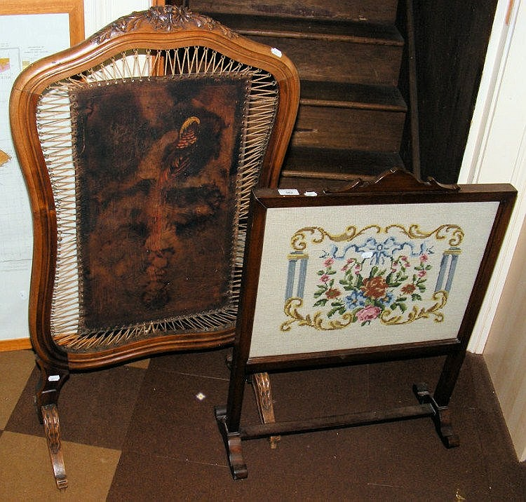 Tapestry fire screen and one other