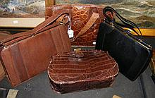 Collection of four various snakeskin handbags