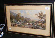 WILLIAM GRAY - 18cm x 36cm - watercolour - cattle