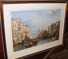 36cm x 54cm - coloured print - Venetian canal