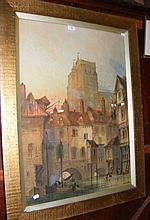 PAUL BRADDON - a large watercolour of Abberville -