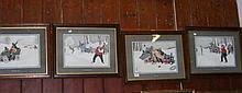A set of four 38cm x 46cm coloured cartoon prints,