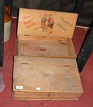 Two pine Teacher's Whisky boxes