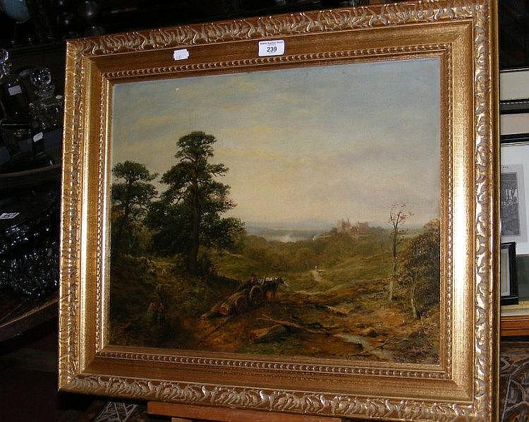 G AIKMAN - 19th century oil on board of country castle scene with trees bei