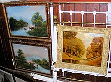 Pair of oil paintings - Highland lake scenes,