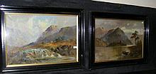 JAMIESON - pair of paintings - Highland mountain