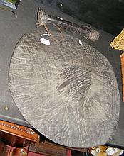 A 50cm diameter old leather tribal shield,