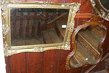 Gilt framed wall mirror, together with other
