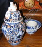 An Imari vase and cover, a blue and white bowl