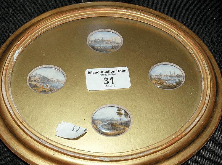 Four miniature oval painted porcelain panels -