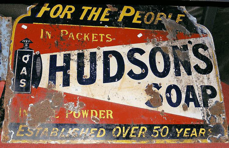 An old enamel sign for Hudson's Soap - 70cm x 90cm