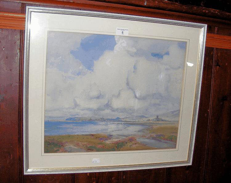 A watercolour of shoreland town scene - signed