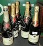 Five bottles of Moet & Chandon Champagne, together