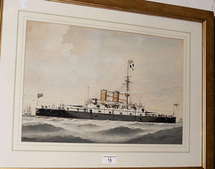 A 19th century watercolour of Naval steamship -