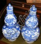 A pair of Chinese blue and white double gourd