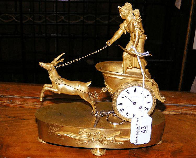 A decorative ormolu mantel clock - the enamel dial