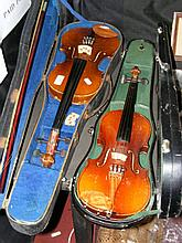 Old violin with bow in fitted carrying case and