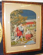 19th century wall tapestry in birds-eye maple