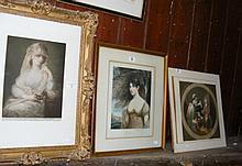 Three old coloured prints - loose and in frames