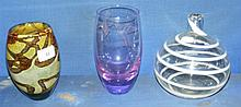 A Mdina studio glass vase, together with two other
