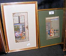 An Indian antique gouache with scripture to the