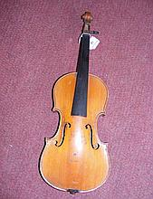 A child's violin with 30cm one piece back, having