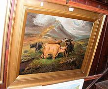19th century oil on canvas - Highland Cattle scene