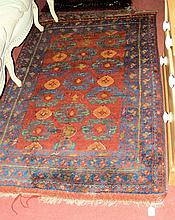 Antique Middle Eastern rug with geometric border -