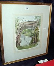 JOHN NASH (1893 - 1977) - watercolour of river