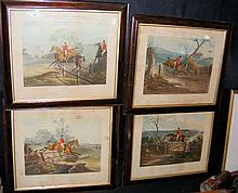A set of seven antique hunting engravings by