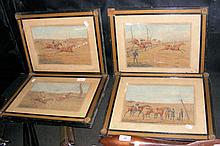 A set of four antique horse racing engravings