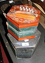 An old squeeze-box in wooden case by Glover