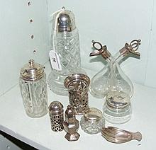 A small collection of silver and plate, including