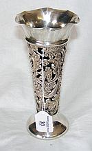 A 20cm high Victorian embossed and pierced silver