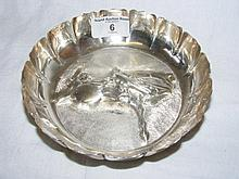 A 15cm diameter Dublin silver bowl, 1981, the base