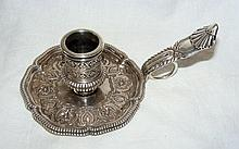 A heavy French silver aesthetic chamberstick circa