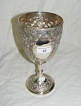 A Chinese silver goblet with relief-work