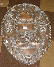 An interesting 58cm old copper relief-work plaque