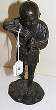 A Japanese bronze model of gentleman holding pipe
