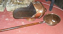Antique copper coal scuttle, together with a bed