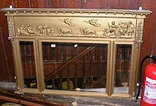 A Regency gilt overmantel with reliefwork Roman