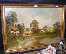 FRANCIS JAMIESON - oil on canvas - rural thatched