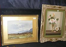 COOPER - watercolour - mountain heath scene,