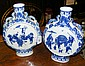 A pair of Chinese blue and white moon flasks,