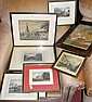 Various old engravings, silk work of