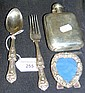 A Victorian silver spoon and fork, a small photo